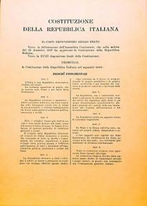 Un'immagine della Costituzione della Repubblica Italiana